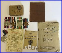 WW2 Medal Group Pay Book Release Book Etc, War Sergeant Edward G Fricker