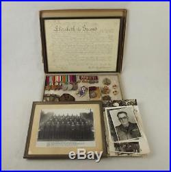 WW2 Medal Set Plus Badges, Photographs Etc- W. O. II (C. S. M) M. W. F. Pettet Roy