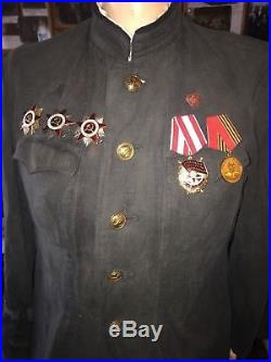 WW2 Soviet naval military jacket with orders and medals