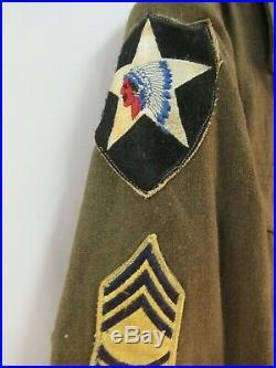 WW2 US Army Ike Jacket 2nd Infantry Ordnance Corps Medals Master Sargent VTG