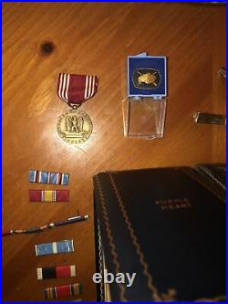 WWII US ARMY SOLDIER Lot Tank Tanker FRANCE PHOTOS MEDAL CASE Grouping WW2