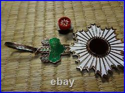 WWII WW2 JAPANESE ARMY ORDER RISING SUN 3TH MEDAL ANTIQUE RARE badge 1A1