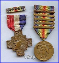 WWI WW1 AEF-5 Bar Victory Medal, 26th Division YD, NH State Medal, 5 Star Ribbon