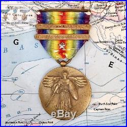 World War I Us Army Victory Medal Silver Star Meuse Argonne Defensive Sector Bar