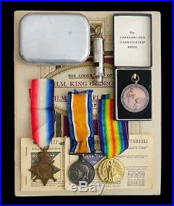 Ww1 British Group 1914-15 Star, War & Victory Medal & Assorted Items