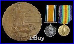 Ww1 British War & Victory Medal Death Plaque Charles Brazier Rifle Brig