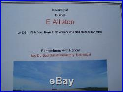 Ww1 Death Plaque, War & Victory Medals, Dog Tag, Cap Badge, Edward Alliston
