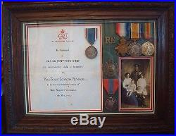 Ww1 Framed Medal & Paperwork Group To 75353 W E Grace R. E. Royal Engineers