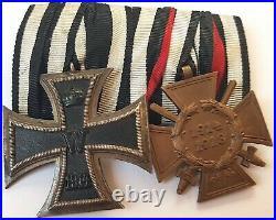 Ww1 German Amazing Medal Set Iron Cross + War Merit Hindenburg Ek2 Prussian Wh