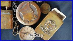 Ww1 Trench Art Compass With Chain- Matchbox- Verdun Medal 2 Souvenir Lighters