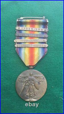 Ww1 Us Victory Medal With 4 Service Bars