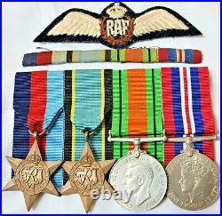 Ww2 British Royal Air Force Medal Group Ribbon Bar & Pilots Wing Badge Raf