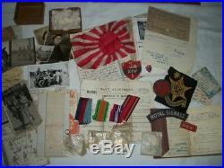 Ww2 Burma Star Medal Group, Photos, Letters Paperwork Badges Jap Souveniers
