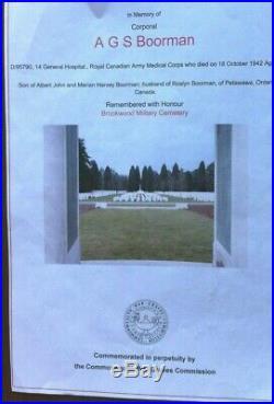 Ww2 Cpl Ags Boorman D95790-39/45 Star, Canadian Volunteers, War Medal &death Cross