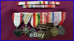Ww2 Japanese Medal Group Of 7 On Bar