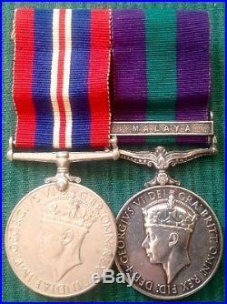 Ww2 War Medal & Gvir Gsm Malaya, Signalman Moore, Royal Signals, Free Uk Post