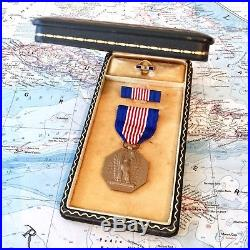 Wwii Us Army Soldiers Medal For Valor Slot Brooch Ribbon Bar Lapel Pin Case Ww2